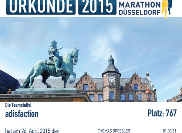 adisfaction Metro Marathon 2015 Urkunde